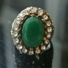 Turkish Ottoman 3 Ct Emerald CZ Victorian Bronze Sultan Size 9 Boho Unisex Ring