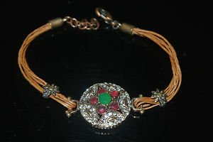 Nwot Turkish 0.5 Ct Emerald CZ Georgian Bronze Leather Cord David Star Bracelet