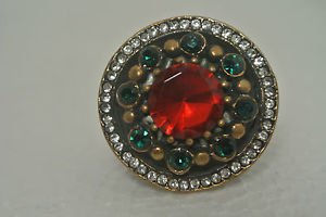 Turkish Georgian 4 Ct  Ruby CZ Handmade Bronze Size 5.5 Sultan Christmas Ring