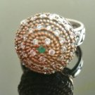 Turkish 0.05 Carat Emerald Ottoman Victorian 925 Silver Ring Sultan Size 8.5