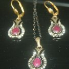 HANDMADE TURKISH OTTOMAN 0.7 CARAT RUBY CZ TULIP VINTAGE BOHO BRONZE JEWELRY SET
