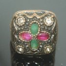 OTTOMAN VICTORIAN STYLE 0.25 CARAT EMERALD & RUBY CZ TURKISH BRONZE SIZE 8 RING