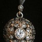 Ottoman Victorian Style 0.5 Carat Topaz 925 Sterling Silver Round Pendant
