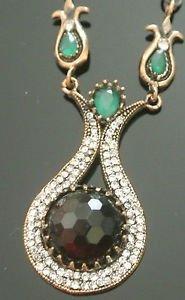 Bronze Turkish Vintage 6 Carat Smoky Agate Ottoman Victorian Drop Necklace