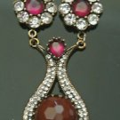 Bronze Turkish 6.0 Carat Smoky Ruby Ottoman Victorian Style Dangle Necklace