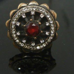 Turkish 1.5 Carat Ruby Vintage Bronze Ottoman Victorian Size 8 Round Bent Ring
