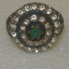 Middle Eastern Bronze Size 9 0.33 Carat Turkish Emerald Double CZ Round Ring