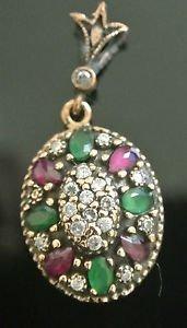 Ottoman Victorian 0.2 Carat Ruby & Emerald 925 Sterling Silver Flower Pendant