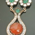 Bronze Turkish Vintage 6 Carat Orange Agate Ottoman Victorian Drop Necklace