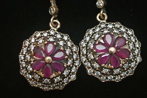 TURKISH OTTOMAN VICTORIAN 925 STERLING SILVER 0.33 CARAT RUBY VINTAGE EARINGS