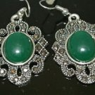 CLASSIC TURKISH OTTOMAN VICTORIAN STYLE MARCASITE JADE EMBRODIREY DANGLE EARINGS