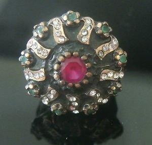 Turkish 0.7 Carat Emerald & Ruby CZ Handmade Bronze Size 8.5 Sultan Medal Ring