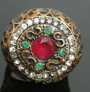 Turkish 1.5 Carat Ruby CZ Handmade Victorian Bronze Sultan Round Ring Size 7.5