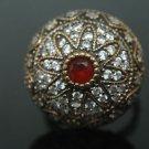 Turkish 0.33 Ct Ruby 925 Sterling Silver 8.5 SULTAN Masonic Star Bohemian Ring