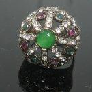 Turkish 0.75 Carat Emerald Ottoman Victorian Bronze Size 7.5 Swirl Round Ring