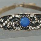 Turkish 1.5 Carat Sapphire Ottoman Victorian Bronze 8'' Chain Bracelet AS IS