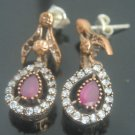 TURKISH OTTOMAN VICTORIAN 925 SILVER 0.39 CARAT RUBY HURREM FLOWER MIX EARINGS
