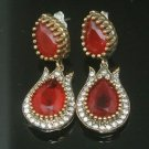 TURKISH OTTOMAN VICTORIAN 925 SILVER 3.0 CARAT RUBY HURREM SULTAN TULIP EARINGS