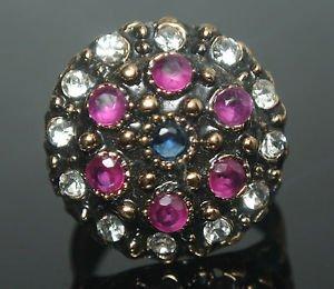 Turkish 0.15 Carat Ruby & Sapphire Handmade Bronze Size 8 Sultan Swirl Boho Ring