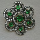 Turkish 0.5 Carat Emerald Ottoman Size 6.5 Boho 925 Silver Sultan Flower Ring