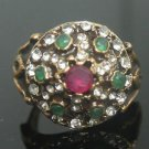 Vintage Turkish 0.33 Carat Ruby Emerald Ottoman Victorian Size 8.75 Bronze Ring