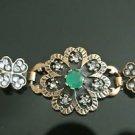 Turkish 0.75 Ct Round Emerald CZ Victorian Chain Rustic Flower Brass Bracelet