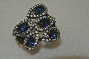 Turkish 0.75 Carat Sapphire CZ Ottoman Hinged Size 8.5 925 Silver Sultan Ring
