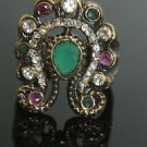 TURKISH OTTOMAN VICTORIAN BRONZE 0.75 CARAT EMERALD BUTTERFLY RING SIZE 7.5