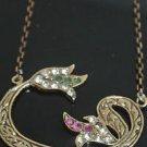 Turkish 0.05 Ct Ruby CZ Ottoman Muslim Style Bronze Tulip Vav Necklace