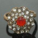 Turkish 0.33 Carat Ruby Handmade Victorian Style Sultan Flower Bronze Ring 6.5