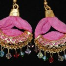 Bronze Turkish Mix Crystal Ottoman Victorian Style Pink Silk Huggie Earings