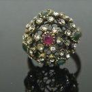 Handmade Bronze Size 11 0.2 Carat Emerald&Ruby Ottoman Victorian Swirl Cage Ring