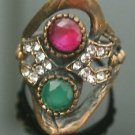 Turkish 0.5 Carat Emerald&Ruby Handmade Bronze Flower Size 6.5 Swirl Boho Ring