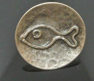 NO STONE OTTOMAN VICTORIAN COPPER ROUND TURKISH FISH IMPRINTED SIZE 7.5 RING
