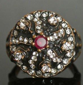 Turkish 0.1 Carat Ruby CZ Ottoman Handmade Bronze Star Swirl Boho Size 9 Ring