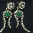Turkish Ottoman Mixed Metals 1.0 Carat Emerald & Rhinestone Tulip Earings