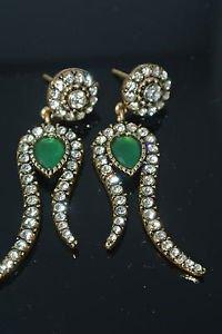 Turkish Ottoman Mixed Metals 1.0 Carat Emerald & Rhinestone Tulip Earings