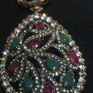 Turkish Ottoman Georgian Designer 0.5 Ct Ruby&Emerald Sultan Bronze Pear Pendant