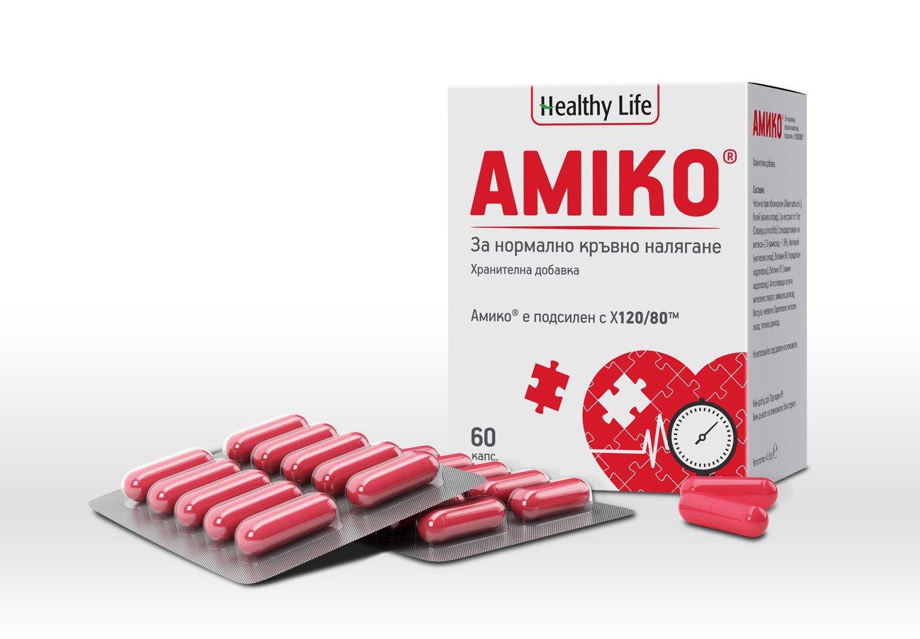 Amiko For normal blood pressure With its unique X120/80 special food supplement