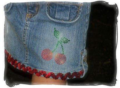 """Custom Made """"Bling"""" skirt~  """"Cherries"""""""