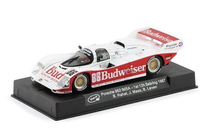 Slot.It SICA25c Porsche 962 #86 Budweiser 'Mass - Rahal' winner 12 hrs of Sebring 1987