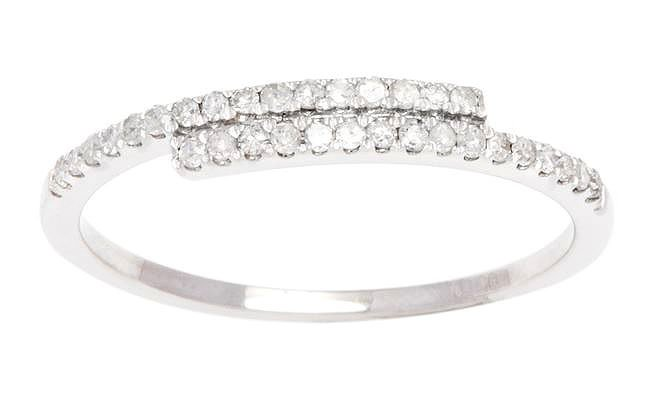 White Gold 1/4ct Pave Diamond Bypass Band Ring (G-H, I1-I2)