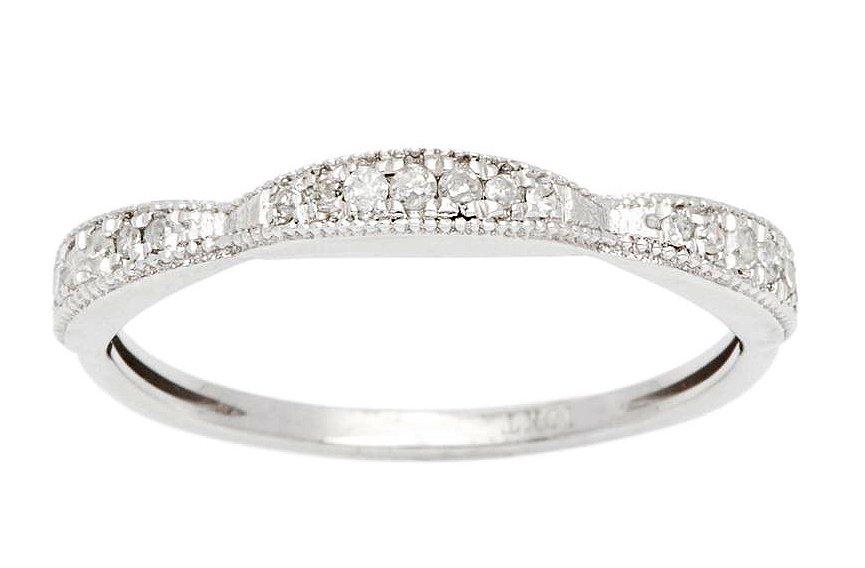 10k White Gold 1/5ct Contoured Milgrain Diamond Wedding Band (G-H, I1-I2)