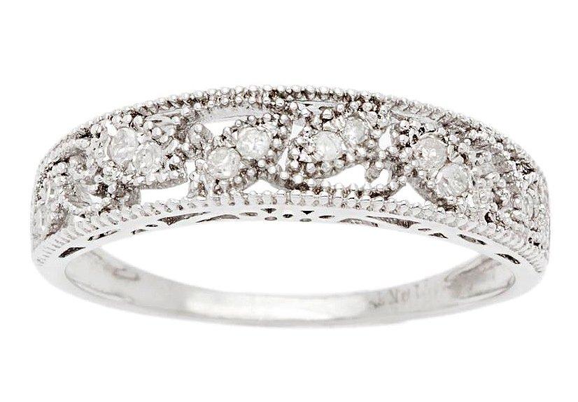 10k White Gold 1/8ct Vintage Style Diamond Wedding Anniversary Band (G-H, I1-I2)