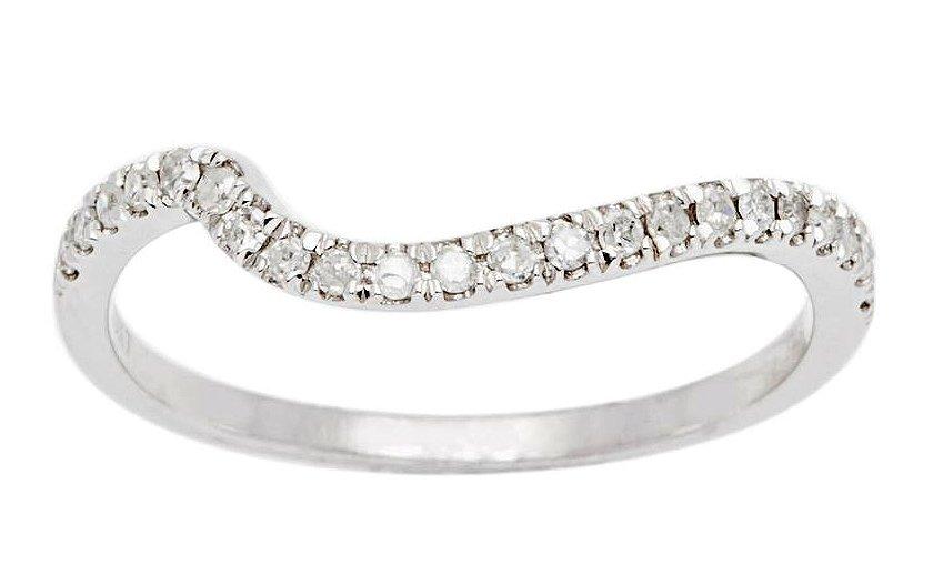 10k White Gold 1/5ct Curved Diamond Wedding Band (G-H, I1-I2)