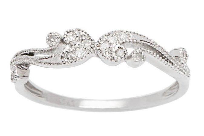 10k White Gold 1/6ct Pave Diamond Vintage Style Ring (G-H, I1-I2)