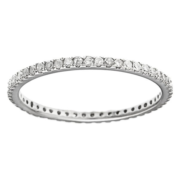 White Gold 1/2 carat Pave Eternity Diamond Wedding Band (G-H, I1-I2)