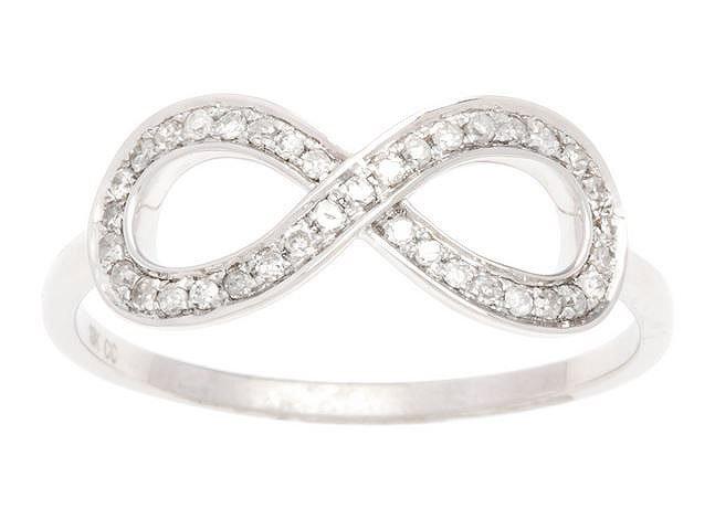 White Gold 1/4ct Infinity Diamond Pave Band Ring (G-H, I1-I2)