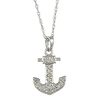 White Gold 1/10ct Anchor Diamond Pendant Necklace (G-H, I1-I2)