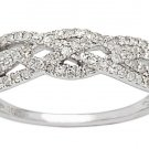 10k White Gold 1/2ct Pave Diamond Weave Anniversary Band (G-H, I1-I2)